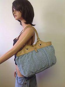 Coldwater Creek Bag Purse Sky Blue Crochet Tan Designer Fashion Summer Chic   eBay