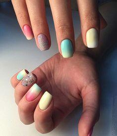 Bright gradient nails, Colorful nails, Fashionable gradient nails, Ideas of gradient nails, Nails shellac gradient, Sandy nails, Spring gradient nails, Square nails