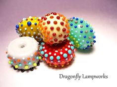 Large dotty lampwork glass beads by Heather Sellers.