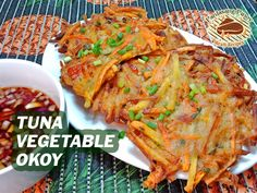 A tasty and healthy okoy made from tuna chunks and combination of vegetables such as squash, carrots, sweet potatoes (or kamote). This appetizer is very suited How To Cook Tuna, How To Make Vinegar, Lasagna, Squash, Sweet Potato, Carrots, Breakfast Recipes, Luxury Interior, Interior Design