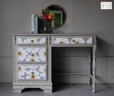 gray desks | Gray desk w/floral drawer fronts | Furniture redos