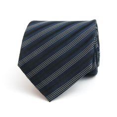 Edward Sexton black and navy seven fold club stripe tie