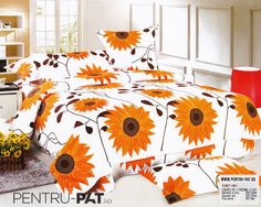 Lenjerie de pat bumbac satinat Casa New Fashion cu floarea soarelui Comforters, Textiles, Satin, Blanket, Bed, Home, Stream Bed, House, Elastic Satin