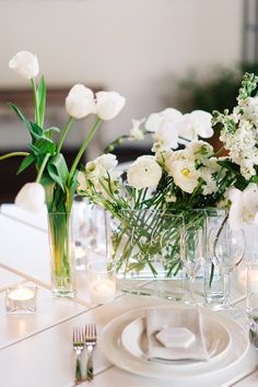 LOVESTRUCK WEDDINGS //  Modern Industrial Photoshoot // Lightspace Brisbane. As seen in Hello May. Photo by Jess Jackson. White Springs, Spring Flowers, Glass Vase, Spring Blooms