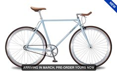 Single speed azure light blue fixed gear fixie bike