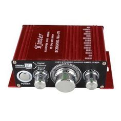 12V 2 CH Mini Digital Audio Power Amplifier AMP For HiFi MP3 Car & with Mini Tool Box (cog) by Kinter. $188.00. With Colorful LED of Volume button,Charming Red case. Output Power: 100W + 100W R.M.S Power: 2x4W R.M.S Power: <0.1% atlKHz Input Sensitivity: 200mv Input Impedance: 47K Speaker Impedance: 4ohm to 16ohm Frequency Reponse: 20Hz to 20KHz Min. THD: <0.005%70dB RCA Input for MP3 LED light for Volume Control Twin Power IC Chips Aluminum Case Weight: 216g (.5lb...