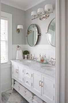 white bathroom beadboard marble - Google Search