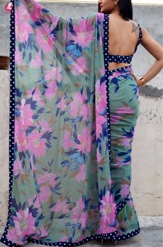 Buy Printed Multicolour Chiffon Saree - Sarees Online in India Floral Print Sarees, Saree Floral, Lace Saree, Chiffon Saree, Georgette Sarees, Floral Chiffon, Printed Sarees, New Saree Blouse Designs, Saree Blouse Patterns
