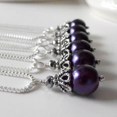 Dark Purple Bridesmaid Jewelry Pearl Necklace Wedding Jewelry Sets Beaded Pendant Bridesmaid Gifts Indigo Amethyst Silver, Guinevere