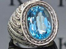 Blauer Topas Herrenring Silber handgefertigt