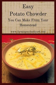 Potato chowder makes a simple and versatile meal that you can practically grow yourself. Homegrown potatoes, onion, and stock make it truly homemade.