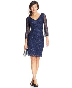 JS Collection Illusion-Sleeve Embellished Sheath - Dresses - Women - Macy's