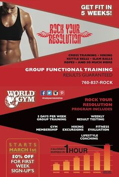 SUMMER IS COMING!!! Our NEW Rock Your Resolution program starts March 1st at Westfield Palm Desert​! Get 25 SESSIONS for only $19.96 each!!! SIGN UP NOW - CALL SANDRA TODAY 760-409-6173.  Program Includes: MEAL PLANNING      MEASUREMENTS       BEFORE/AFTER    COACHING   5 DAYS A WEEK       GROUP SESSIONS ROCKING RESULTS  *Need to purchase full 5 week program  #RockYourResolution #WorldGym #extremefitness #muscle #fitness #workout #rockyourworld