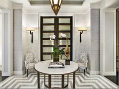 Statement Gray and White Tile Floor with Gorgeous Black and Mirrored Doors entry foyer Luxury Interior, Home Interior, Luxury Furniture, Interior Designing, Modern Entryway, Entryway Decor, Entryway Flooring, Jean Louis Deniot, Floor Design