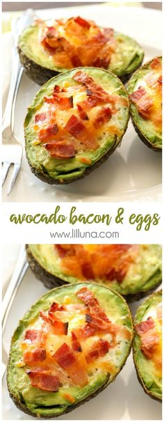 We love these Avocado Bacon and Eggs - they're so easy too! {We love these Avocado Bacon and Eggs - they're so easy too! Healthy Snacks, Healthy Eating, Healthy Recipes, Keto Recipes, Bacon Recipes, Easy Avocado Recipes, Yummy Recipes, Amish Recipes, Healthy Smoothies