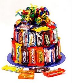 Candy Bar Cake. This is a great gift for someone you maybe don't know very well. Or for a family-to-family gift.