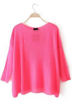 Fluorescent Red Plain Long Sleeve Sweater