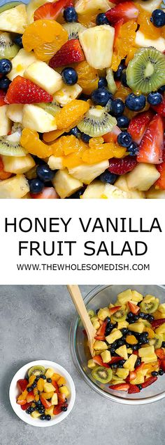 Honey Vanilla Fruit Salad - Fresh chopped fruit coated in a sweet orange honey vanilla dressing. via @afinks