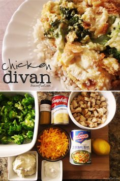 Easy Chicken Divan Recipe (one of my all time fav meals growing up.) I also like to make it with stuffing on top instead of bread crumbs sometimes, very good :D