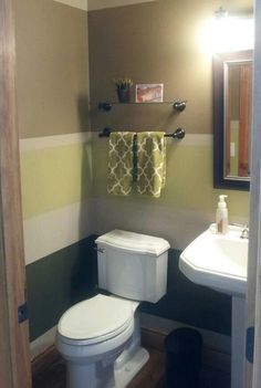 I painted horizontal stripes in the powder room.