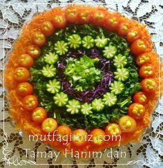 Saglikli yasamin vazgecilmezi salat Havuc ,ispanak,mor lahana, marul ,salatalik,kiraz domates icinde haslanmis misir..zeytinyagi,limon ve tuz ile servis edilir