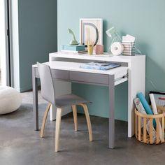 Bureau console 2 tiroirs.  La version console, un meuble élégant à mettre dans un salon ou une entrée et qui cache un bureau.  La console se transforme en un clin doeil en un bureau 2 tiroirs fonctionnels, grâce à un dispositif de rails à roulement à billes, et 2 roulettes fixées sous les piètements. Diy Office Desk, Guest Room Office, Work Desk, Office Ideas, Home Furniture, Furniture Design, Office Pods, Ikea Desk, Small Bedrooms