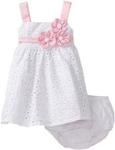 Bonnie Baby Girls' Satin Flowers On White Eyelet Empire Waist Dress, White, 24 Months Frocks For Girls, Kids Frocks, Dresses Kids Girl, Little Girl Dresses, Kids Outfits, Flower Girl Dresses, Baby Girl Dress Patterns, Baby Dress Design, Toddler Dress