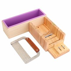 US$52.64 Wooden Box Loaf Soap Mold DIY Soap Cutter With Stainless Steel Blade Set