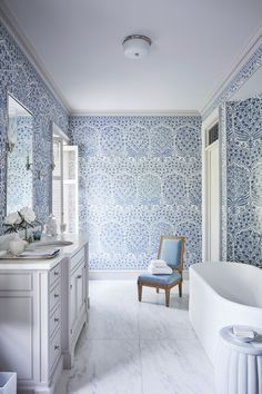 Lee Jofa blue and white patterned walls