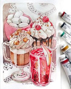 next in HUNGRY series are these sweet drinks!☕ next in HUNGRY series are these sweet drinks! Marker Kunst, Marker Art, Watercolor Food, Watercolor Illustration, 1950 Pinup, Food Art Painting, Diy Y Manualidades, Cute Food Drawings, Food Sketch