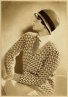 Vintage 1920s Studio Manassé Vienna Lili Damita Flapper Vamp Fashion Photograph day wear sportswear women vintage fashion portrait print ad sweater tie shirt hat knit