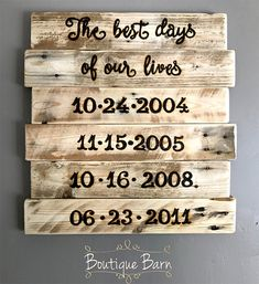Personalized Family Dates Sign/Family Dates Sign/The Best Days Of Our Lives/Custom Sign/Family Art/Wood Sign/Rustic Decor/Farmhouse Decor How special is a personalized Family Dates Sign, customized for your family and your very own special dates? My sister-in-law asked me to create one for her and her family, and I thought it was a fabulous idea to add to the shop. This sign is made from reclaimed wood, with your special dates of choice woodburned onto each...