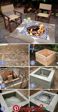 30 great DIY ideas to turn a few paving stones into a beautiful fire pit . - 30 great DIY ideas to cheaply build a nice fireplace from a few paving stones Fire pit backyard, Fi - Cheap Fire Pit, Diy Fire Pit, Fire Pit Backyard, Outdoor Fire, Outdoor Decor, Indoor Outdoor, Square Fire Pit, Fire Pit Designs, Paving Stones