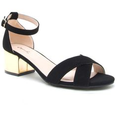 Jaden Criss Cross Black Suede Sandals Gold Block Heel ($50) ❤ liked on Polyvore featuring shoes, sandals, chunky-heel sandals, black chunky sandals, black criss cross sandals, gold sandals and suede sandals