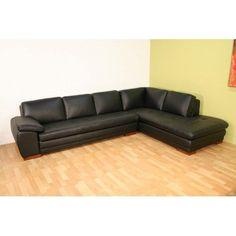 Baxton Studio Black Leather Sectional Sofa | from hayneedle.com