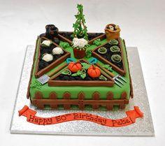allotment garden cake - All For Garden Cupcakes, Cupcake Cakes, Allotment Cake, Vegetable Garden Cake, Paul Cakes, 70th Birthday Cake, Garden Birthday Cake, Boat Cake, Retirement Cakes