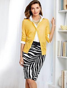 Talbots - Cotton Zebra-Print Pencil Skirt | Black, White and Yellow | Misses