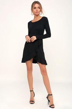 97609537b5 Compliment Catcher Black Long Sleeve Mini Dress