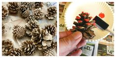 Grow Creative: Frosted Holiday Pine Cones Tutorial dab paint. dry. dab modg podge then salt