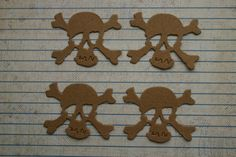 4 Bare Unfinished chipboard die cuts Small Skull and Crossbone Diecuts