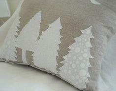 Decorative Linen Pillow - Snowy trees on a moonlight night