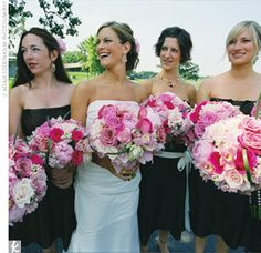 pink peony and rose bouquets & Vera Wang maids dresses in nutmeg