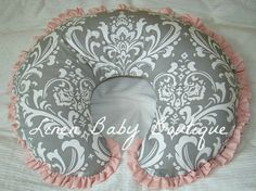 Nursing Pillow Cover Boppy Cover Grey Damask with Pink Ruffle. $25.00, via Etsy.