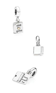 Express how much your mother means to your family with this refined sterling silver Mother's Day dangle charm, featuring a 14k gold heart detail. Let her open the meaningful card and discover the sweet message inscribed within. #PANDORA #PANDORAcharm