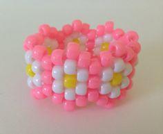 Pink Daisy Kandi Cuff Ready to Wear by DaisyDance on Etsy Pony Bead Patterns, Kandi Patterns, Beading Patterns, Diy Kandi Bracelets, Bracelet Crafts, Beaded Bracelets, Cute Jewelry, Beaded Jewelry, Pulseras Kandi