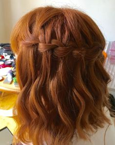 Waterfall plait on mid length hair by Catherine Bailey #hairstylistlondon #hairstylistsurrey #weddinghair #weddinghairstyle #bridalhair #bridalhairstyles #bridlahairstylesformidlengthhair #waterfallplait #waterfallbraid #redhair #redhead