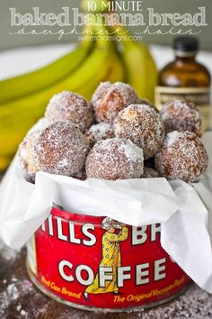 10 Minute Baked Banana Bread Doughnut Holes are a delicious treat you can make in no time. Perfect for breakfast or anytime you want banana bread fast.