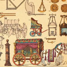 Distintos tipos de carruajes. Antigua cromolitografía de máquinas, útiles, herramientas y vehículos utilizados en la antigua Roma, por el ilustrador alemánGerman illustrator Friedrich Hottenroth (1840-1917). Detalle.
