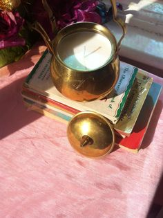 Vintage Hand-etched, Brass Coated Decorative Tea Pot w/ Hand-Poured 100% Eco Soy Candle Blend