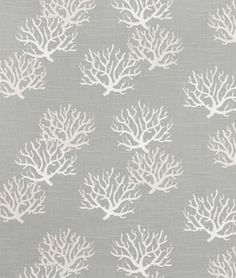 A subtle nautical touch with white coral print on grey. It's Premier Prints Isadella Coastal Gray Slub Fabric $8.00 per yard